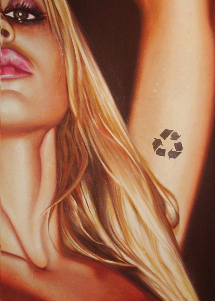 """Natural plastic"" acrilic on canvas cm.140x100 2008 Ivan Toninato"
