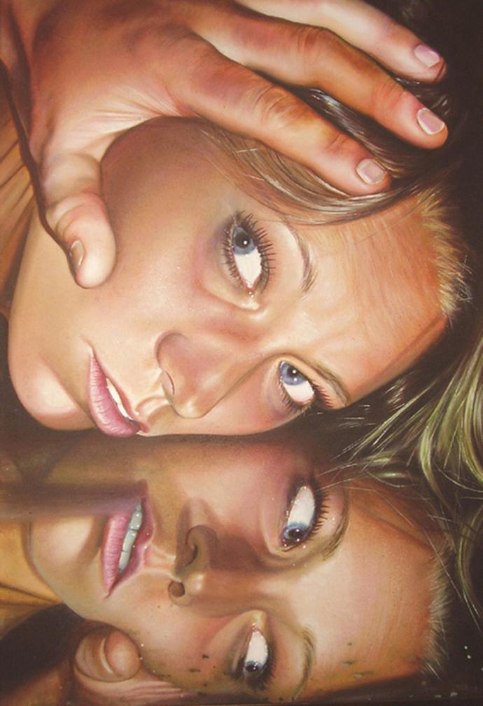 """Reflection"" acrilic on canvas cm.100x150 2009"