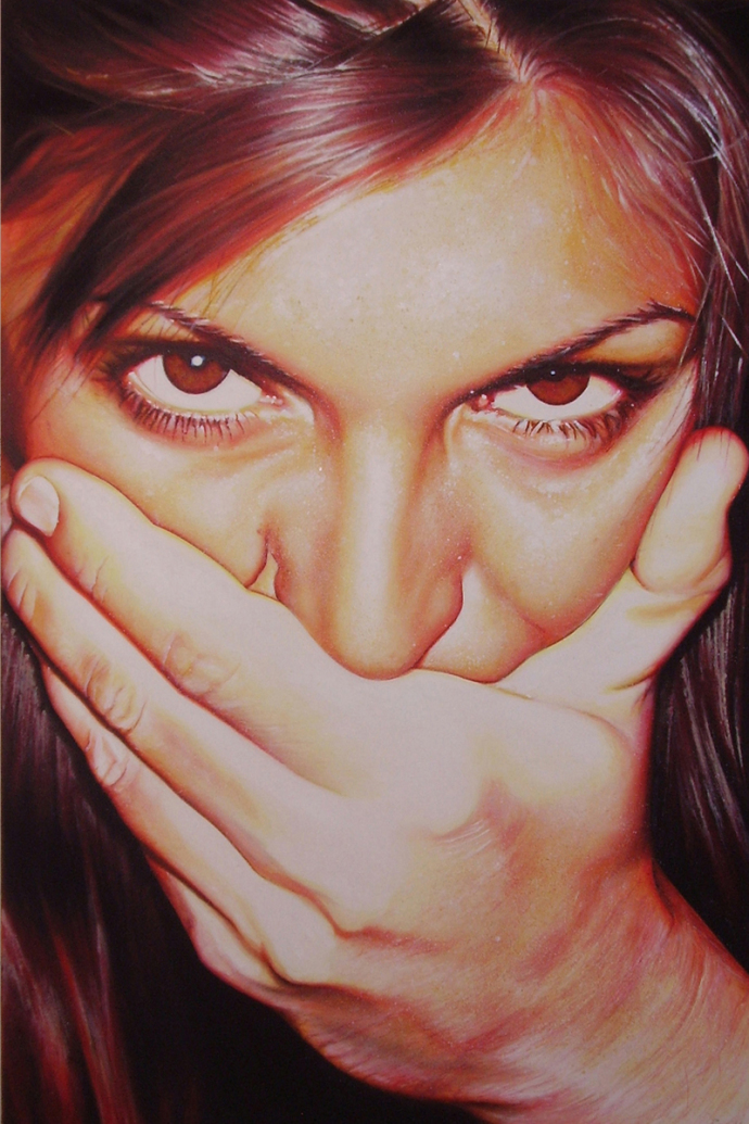 """Shut up!"" acrilic on canvas cm.80x120 2008"
