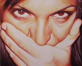 """""""Shut up!"""" acrilico su tela cm.120x80 2009"""