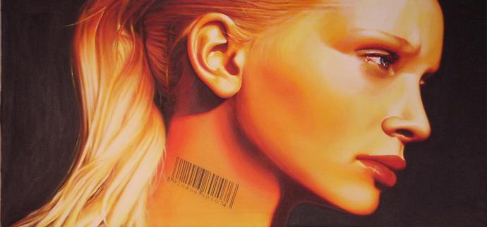"""""""Venality"""" acrilic on canvas cm.150x70 2007"""